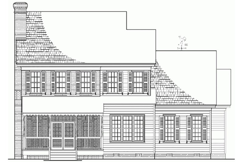 Colonial Exterior - Rear Elevation Plan #137-187 - Houseplans.com