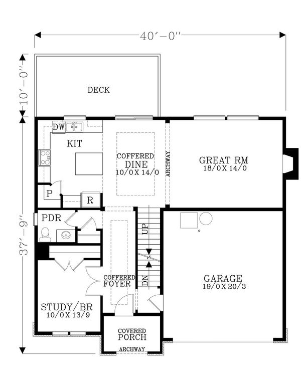 Craftsman Floor Plan - Main Floor Plan Plan #53-536