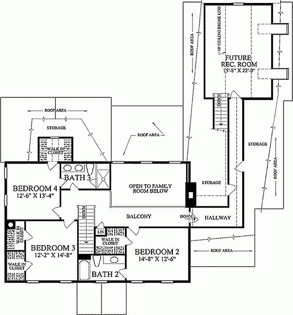 Colonial Floor Plan - Upper Floor Plan Plan #137-172