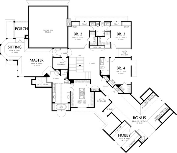 Upper level Floor plan - 6000 square foot European home