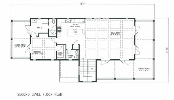 Beach Floor Plan - Upper Floor Plan Plan #443-6