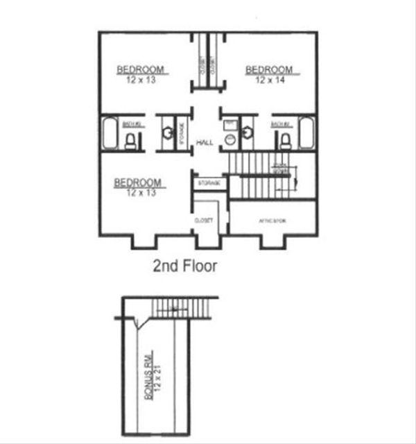 European Floor Plan - Upper Floor Plan Plan #14-255