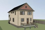 Bungalow Style House Plan - 3 Beds 2.5 Baths 1523 Sq/Ft Plan #79-213 Exterior - Rear Elevation