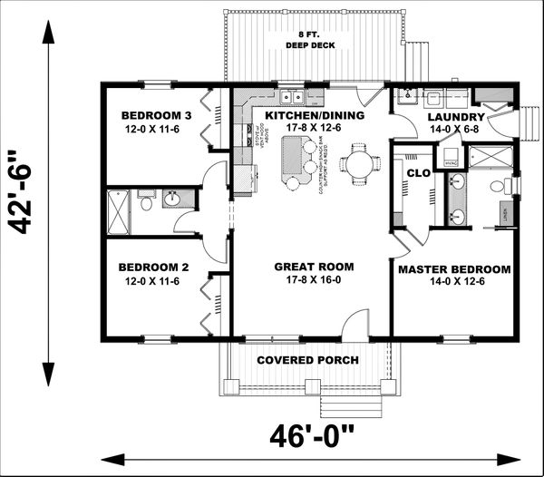 House Plan Design - Ranch Floor Plan - Main Floor Plan #44-228