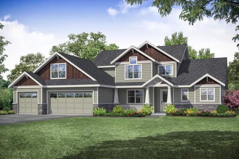 Craftsman Style House Plan - 3 Beds 2.5 Baths 2321 Sq/Ft Plan #124-1109 Exterior - Front Elevation