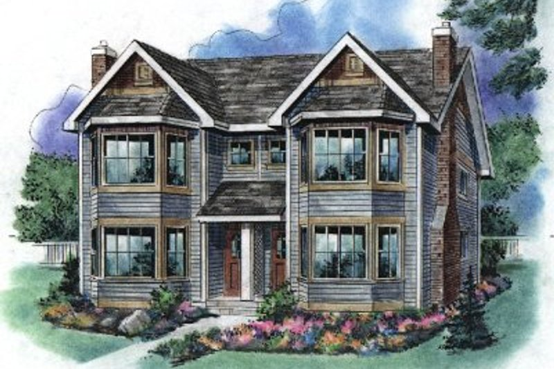 Traditional Style House Plan - 3 Beds 3 Baths 2214 Sq/Ft Plan #18-2003 Exterior - Front Elevation