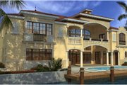 Mediterranean Style House Plan - 7 Beds 8.5 Baths 7883 Sq/Ft Plan #420-249 Exterior - Rear Elevation