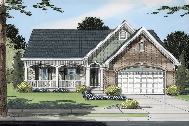 Traditional Style House Plan - 3 Beds 2 Baths 1664 Sq/Ft Plan #46-372 Exterior - Front Elevation