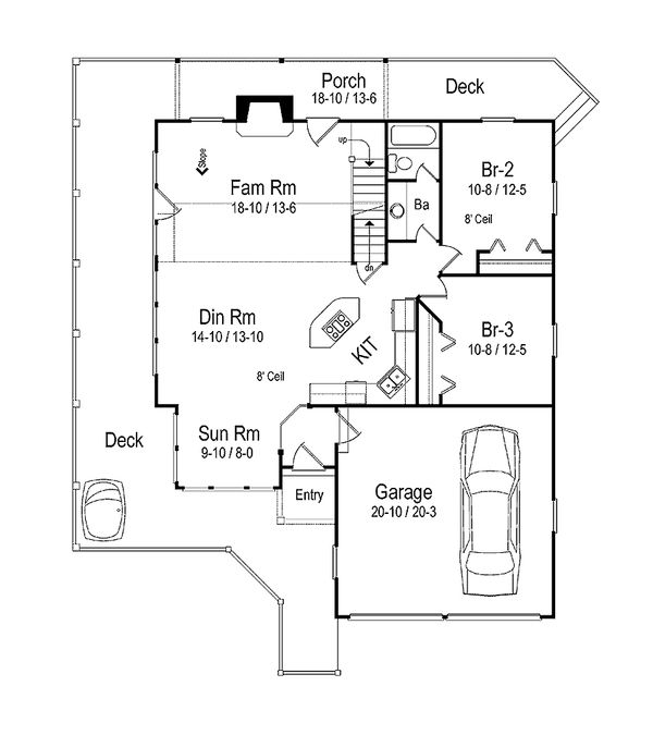 Vacation Cottage house plan, main level floor plan