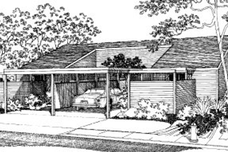 Modern Style House Plan - 2 Beds 1.5 Baths 1986 Sq/Ft Plan #303-142 Exterior - Front Elevation