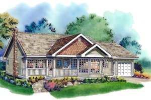 Country Exterior - Front Elevation Plan #18-321