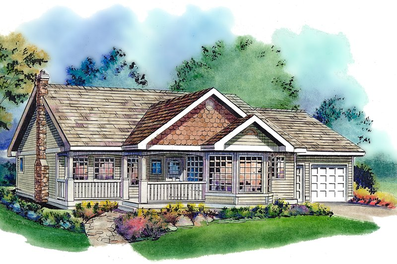 Country Style House Plan - 3 Beds 2 Baths 1368 Sq/Ft Plan #18-321