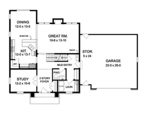 Colonial Floor Plan - Main Floor Plan Plan #1010-54