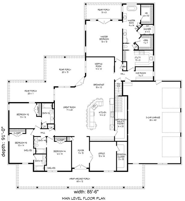 Dream House Plan - Country Floor Plan - Main Floor Plan #932-320