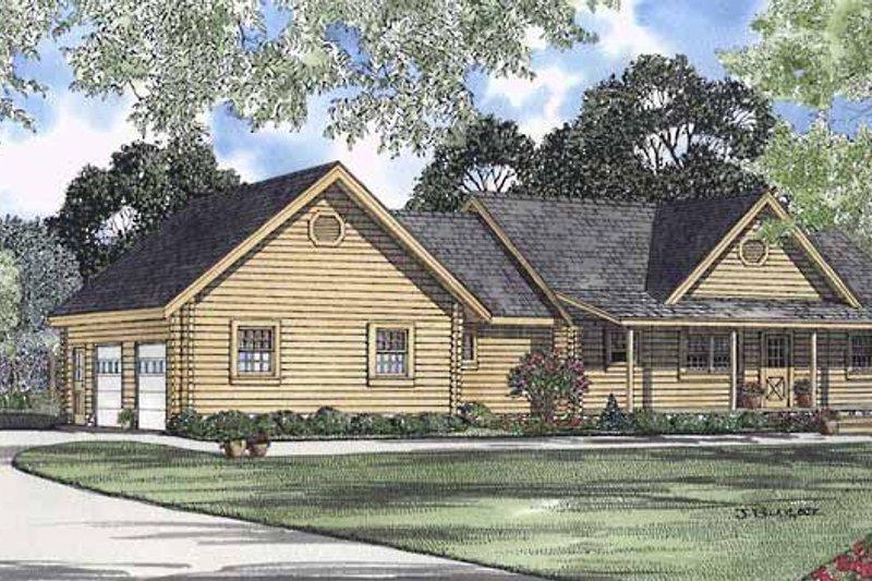 Log Exterior - Front Elevation Plan #17-3030 - Houseplans.com