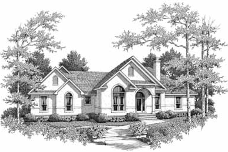 Mediterranean Exterior - Front Elevation Plan #14-158