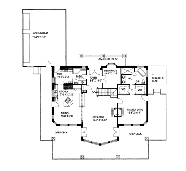 House Plan Design - Ranch Floor Plan - Main Floor Plan #117-840