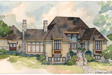 European Exterior - Rear Elevation Plan #928-29
