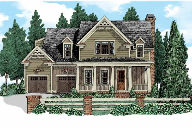 Country Exterior - Front Elevation Plan #927-521