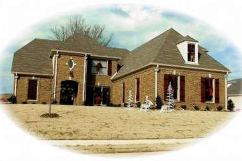 European Style House Plan - 4 Beds 3.5 Baths 3750 Sq/Ft Plan #81-1039 Exterior - Front Elevation
