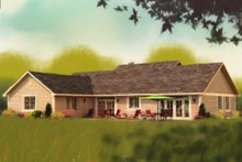 Dream House Plan - Ranch Exterior - Rear Elevation Plan #18-9545