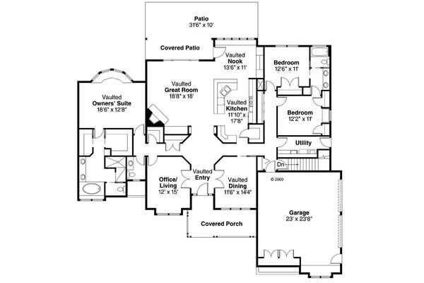 Traditional Floor Plan - Main Floor Plan Plan #124-200