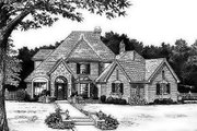 European Style House Plan - 4 Beds 3.5 Baths 3017 Sq/Ft Plan #310-155 Exterior - Front Elevation