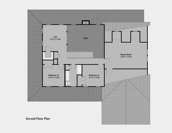 Country Floor Plan - Upper Floor Plan Plan #531-1