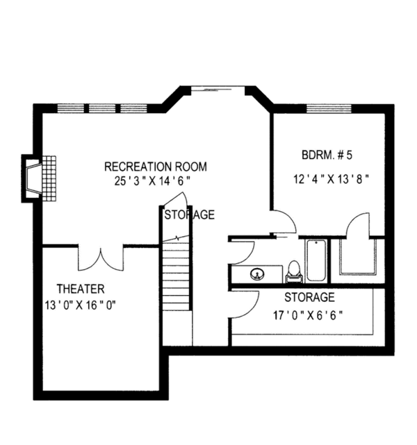 Country Floor Plan - Lower Floor Plan Plan #117-835
