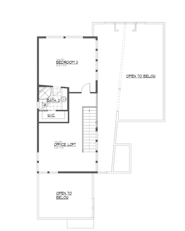 Contemporary Floor Plan - Upper Floor Plan Plan #569-29