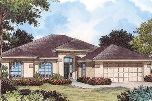 Home Plan - Mediterranean Exterior - Front Elevation Plan #417-802