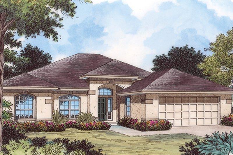Architectural House Design - Mediterranean Exterior - Front Elevation Plan #417-802