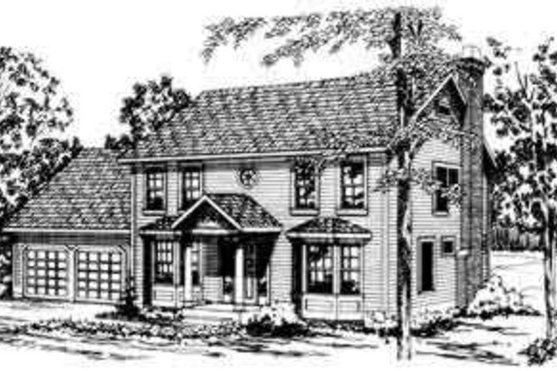 Colonial Exterior - Front Elevation Plan #124-165