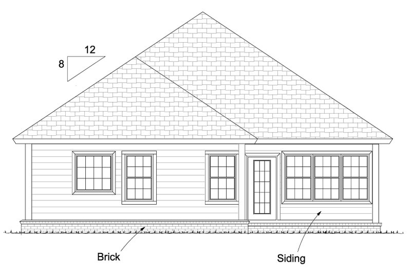 Cottage Exterior - Rear Elevation Plan #513-2087 - Houseplans.com