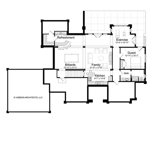 Dream House Plan - Log Floor Plan - Lower Floor Plan #928-263