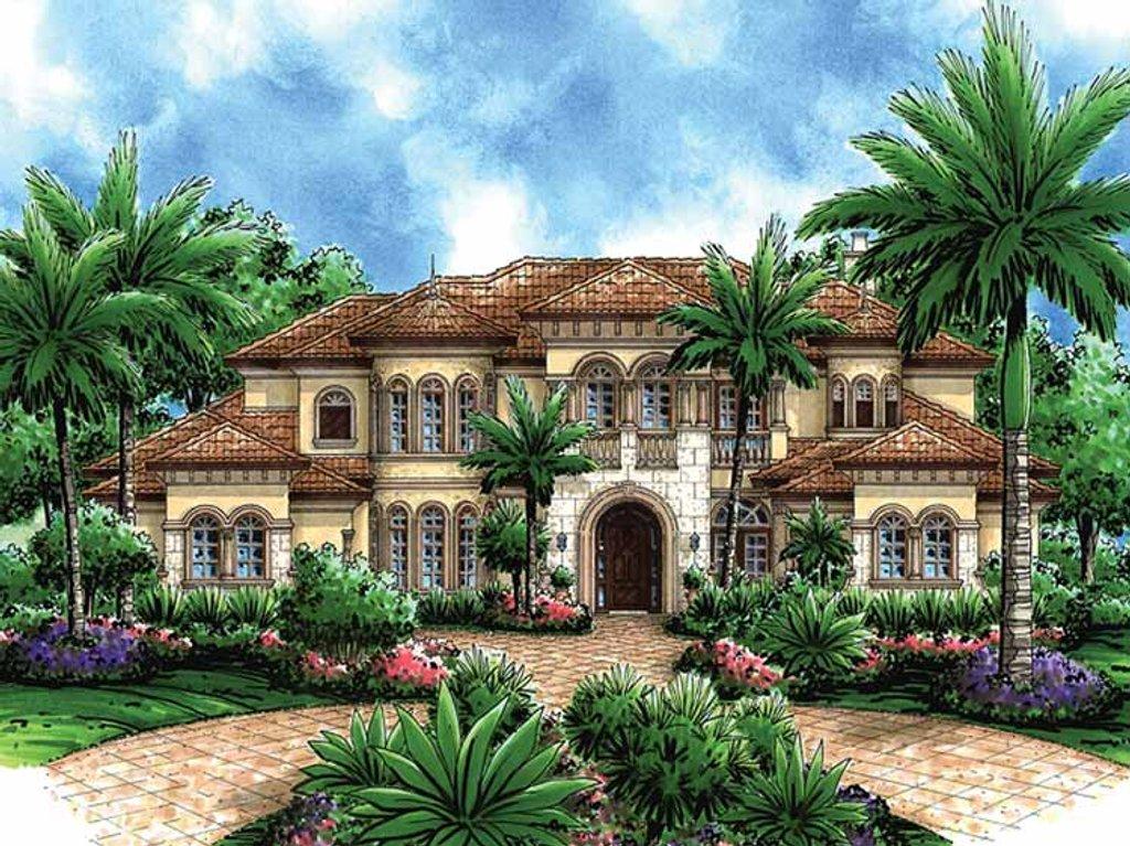 Mediterranean style house plan 5 beds 6 5 baths 6718 sq for Mediterranean mansion plans