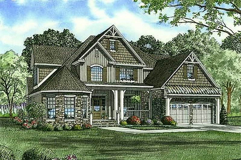 Architectural House Design - Craftsman Exterior - Front Elevation Plan #17-2135