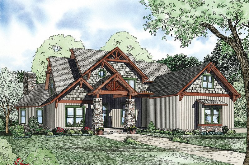 Craftsman Exterior - Front Elevation Plan #17-2377