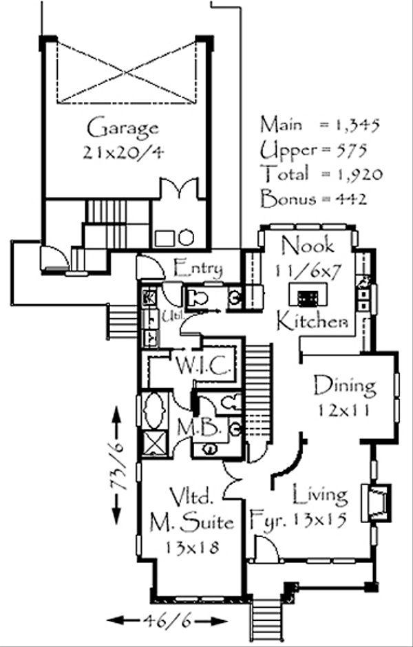 European Floor Plan - Main Floor Plan Plan #509-6