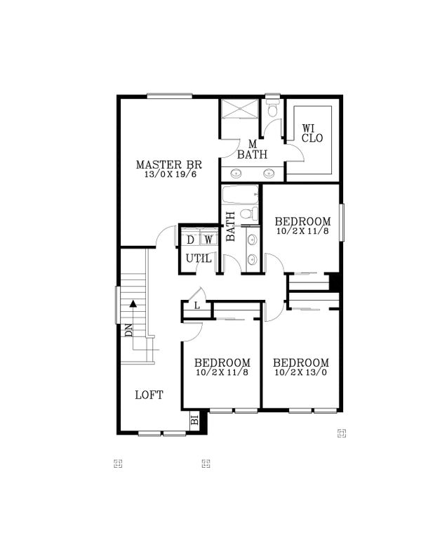 Craftsman Floor Plan - Upper Floor Plan Plan #53-474