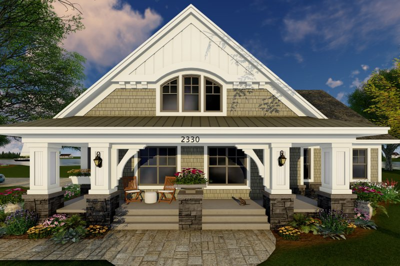 Craftsman Exterior - Front Elevation Plan #51-514