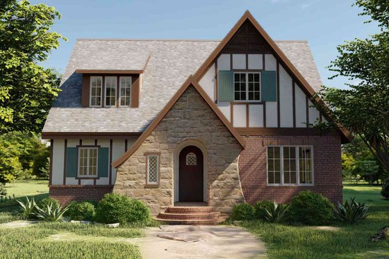 Tudor Exterior - Front Elevation Plan #1079-3