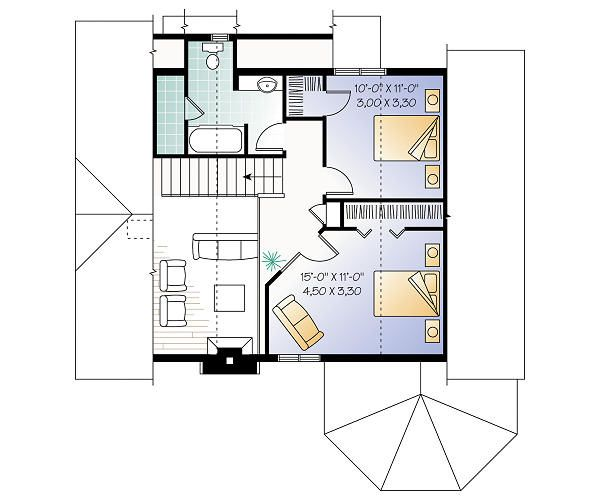 Country Floor Plan - Upper Floor Plan Plan #23-2042