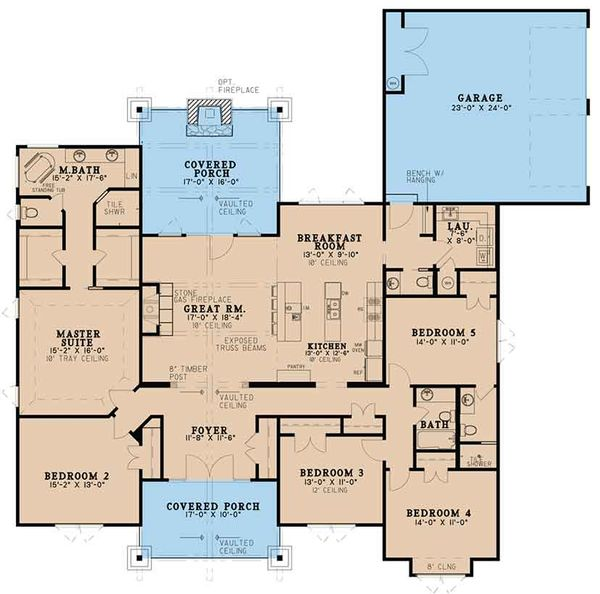 Architectural House Design - Ranch Floor Plan - Main Floor Plan #17-3408