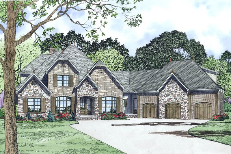 European Style House Plan - 4 Beds 3.5 Baths 3752 Sq/Ft Plan #17-2498 Exterior - Other Elevation