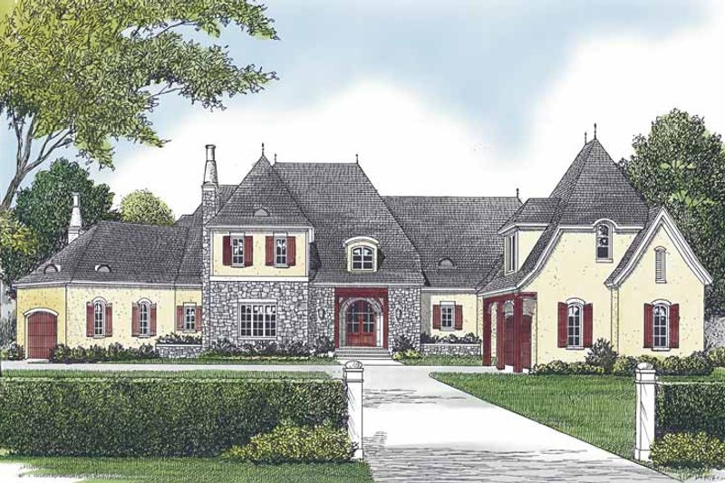 European Exterior - Front Elevation Plan #453-595 - Houseplans.com