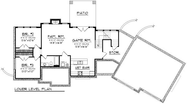 Ranch Floor Plan - Lower Floor Plan Plan #70-1173