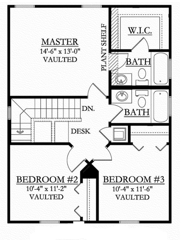 Colonial Floor Plan - Upper Floor Plan Plan #1058-91