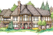 Tudor Style House Plan - 4 Beds 4.5 Baths 3983 Sq/Ft Plan #929-947 Exterior - Rear Elevation
