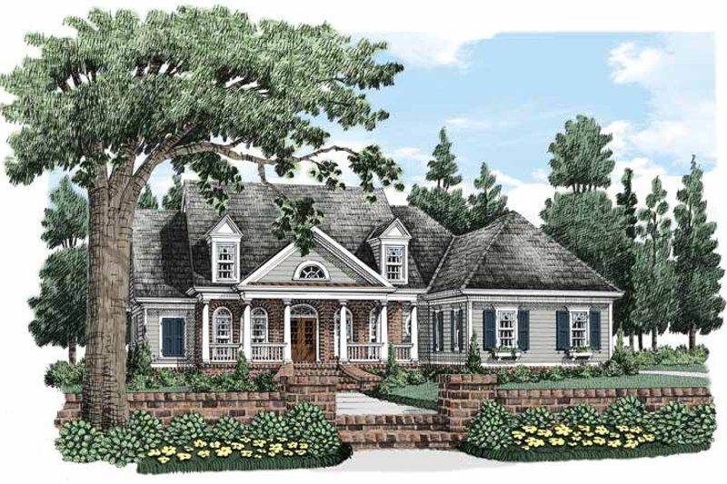 Colonial Exterior - Front Elevation Plan #927-486